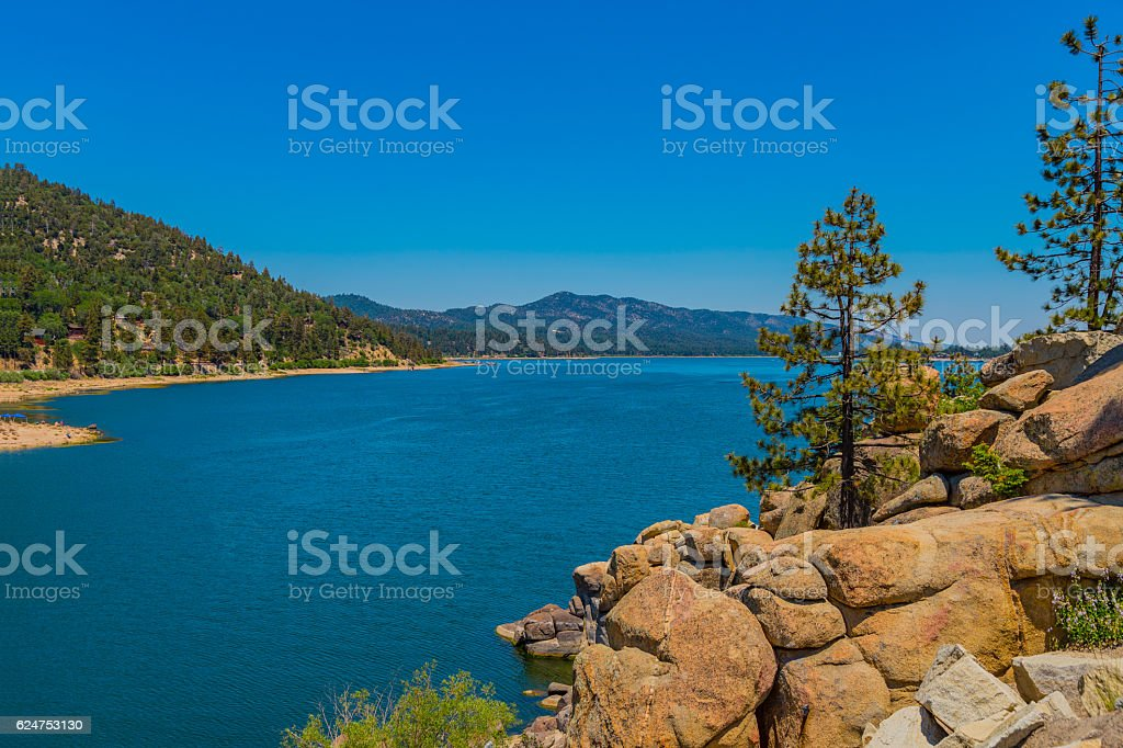 Big Bear Lake in the San Bernardino National Forest, CA stock photo