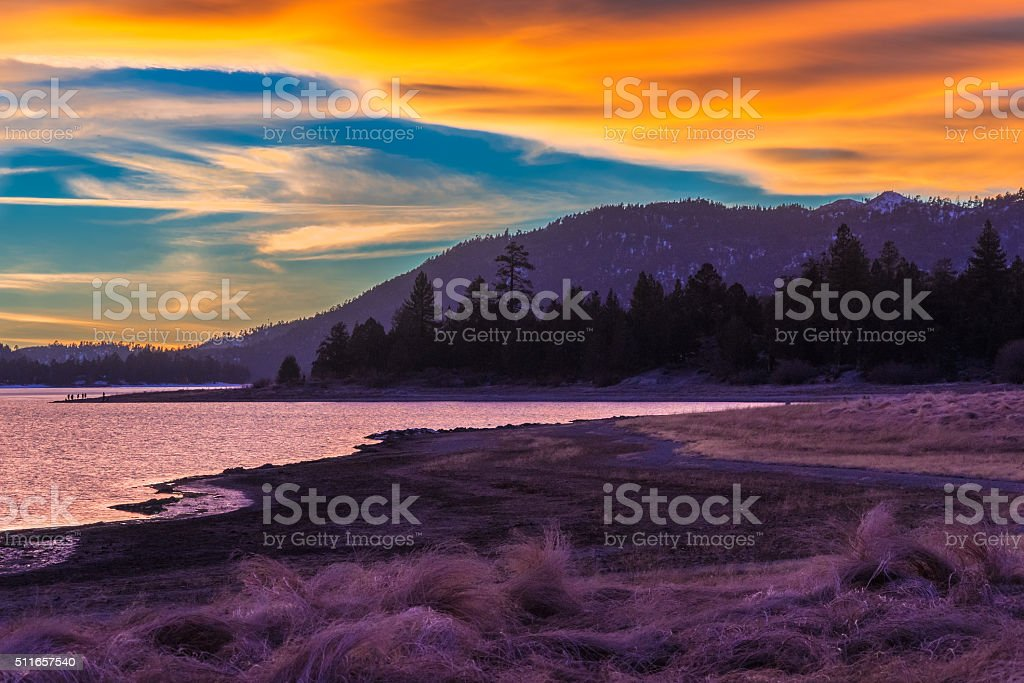 Big Bear Lake romantic sunset,reflections,cloudscape,CA (P) stock photo