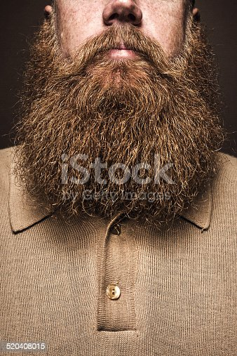 A close up portrait of a mans large red beard, his facial hair curling down to his shirt.  His face is obscured by the composition, emphasizing the masculine mustache and beard. Vertical image with copy space.