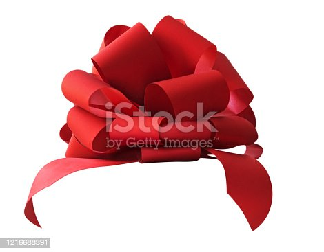 Big beautiful red bow for gift, gift wrapping, banner, advertisement, congratulation. Side view.