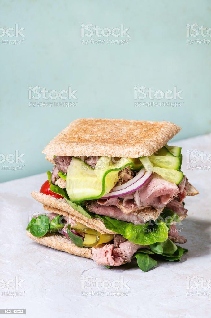 Big beef sandwich stock photo