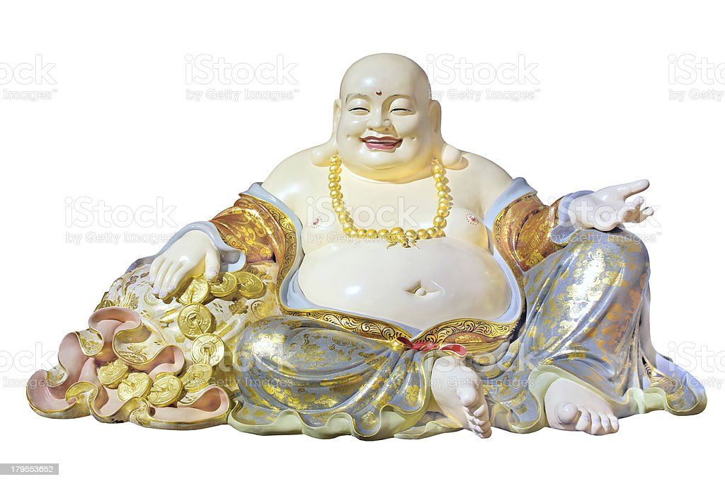 Big Belly Maitreya Cloth Bag Monk Statue stock photo
