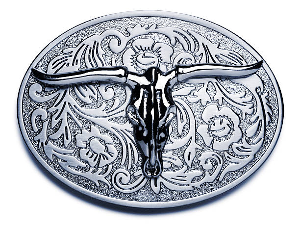 big belt buckle on white - belt stock photos and pictures