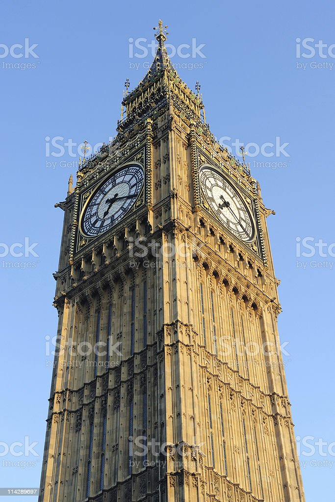 Big Ben against Blue Sky stock photo