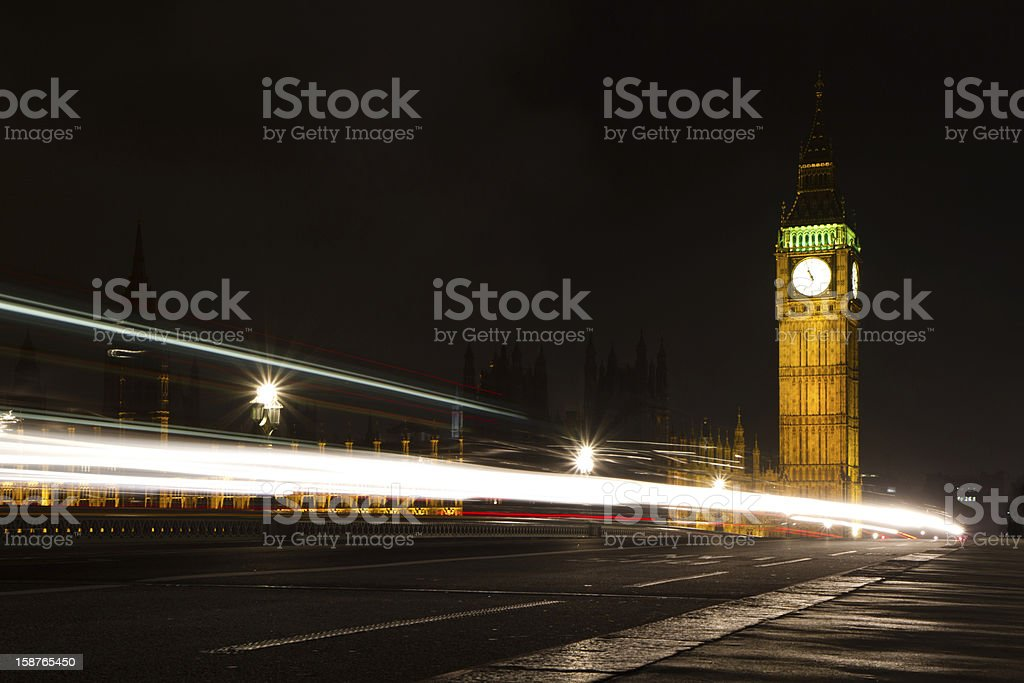 Big Ben & night traffic royalty-free stock photo