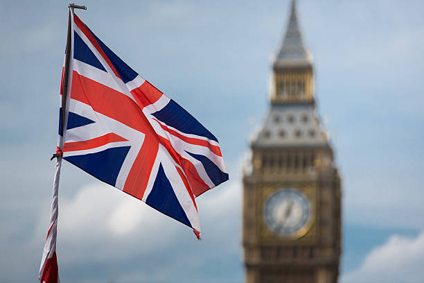 Big Ben and a Union Jack flag stock photo