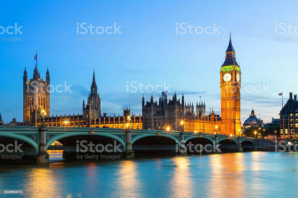 Big Ben and Britain's Houses Of Parliament at Dusk stock photo