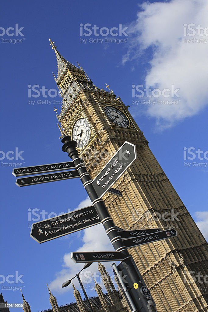 Big Ben and directions royalty-free stock photo