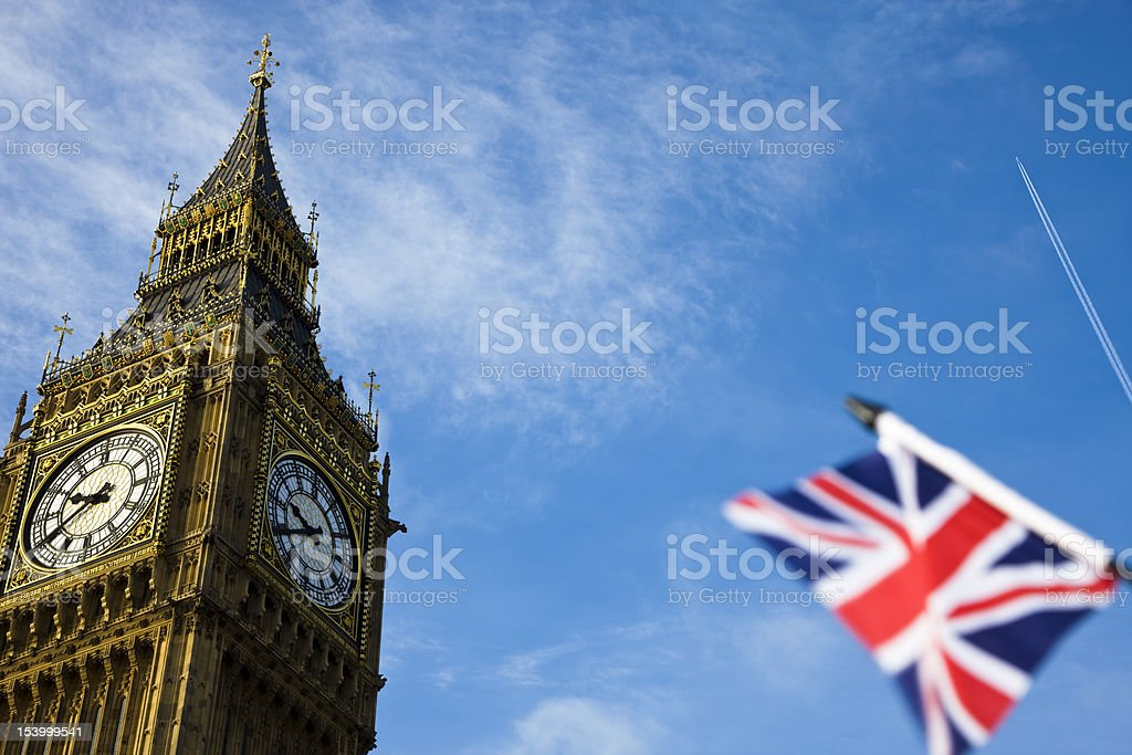 Big Ben and flag of the UK, London, England royalty-free stock photo