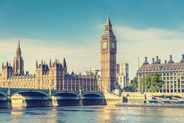 big ben and house of parliament, london, uk, vintage effect - big ben stock photos and pictures