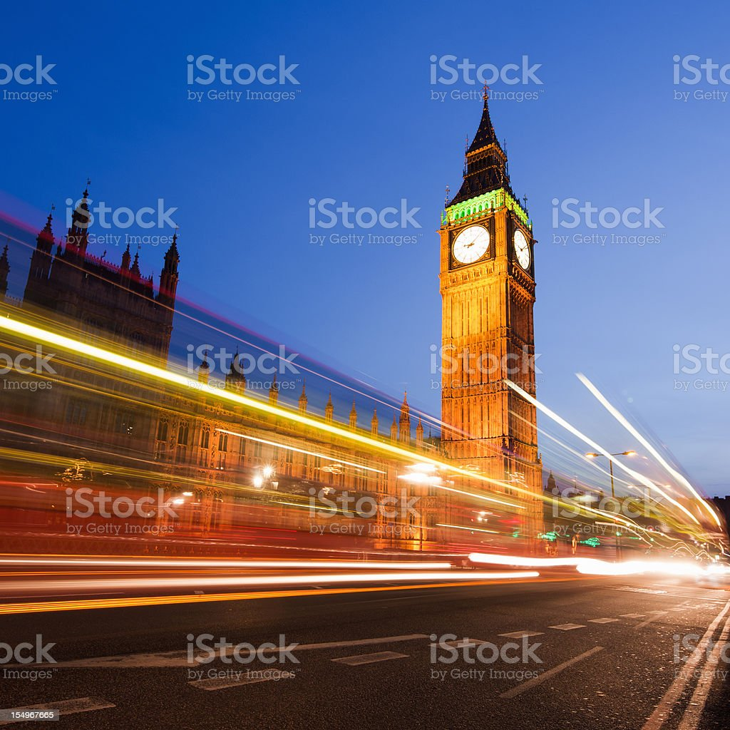 Big Ben and Houses of Pariament in London at Night royalty-free stock photo