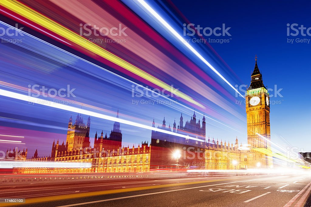 Big Ben and Houses of Parliament at Night London UK royalty-free stock photo