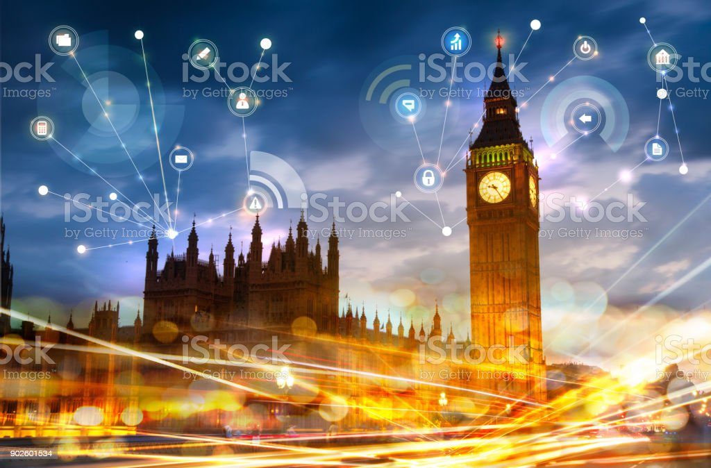 Big Ben and houses of Parliament at sunset. Illustration with communication and business icons, network connections concept. stock photo