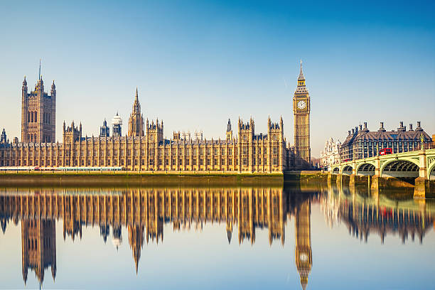 Big Ben and Houses of parliament, London Big Ben and Houses of parliament at calm sunny morning city of westminster london stock pictures, royalty-free photos & images