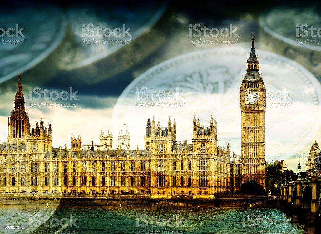 Big Ben and Houses of Parliament with Money stock photo