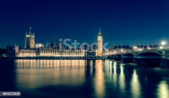 istock Big Ben and Houses of Parliament with Westminster bridge at night, London, UK 994820638