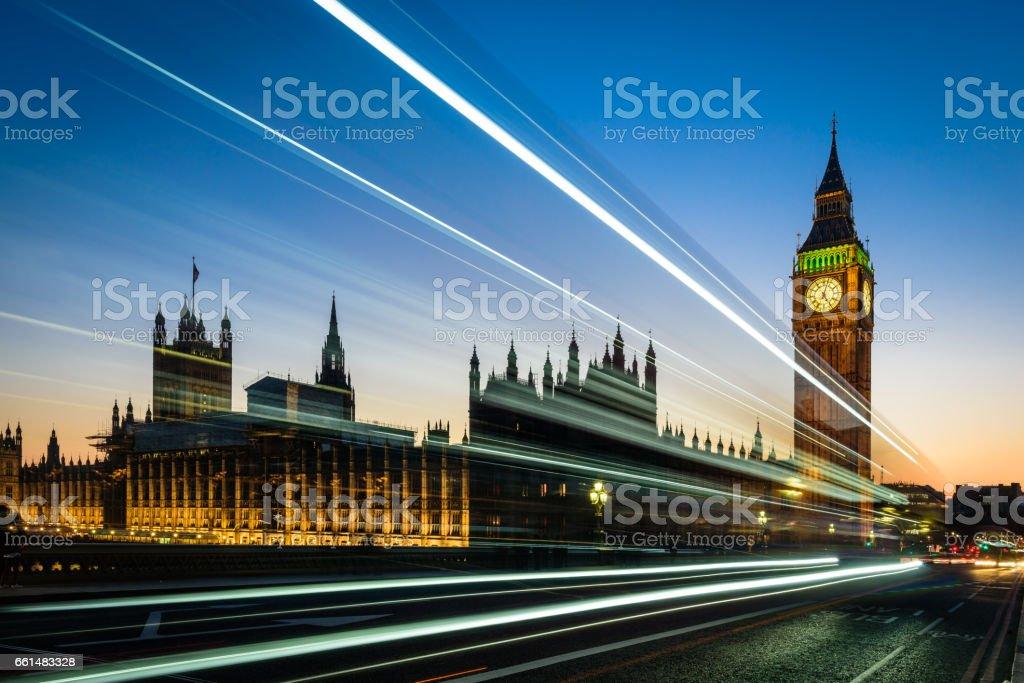 Big Ben and London Bus stock photo