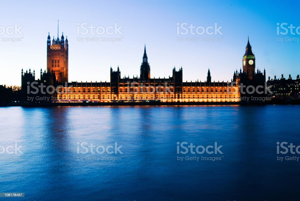 Big Ben and Parliament Buildings at Dusk royalty-free stock photo