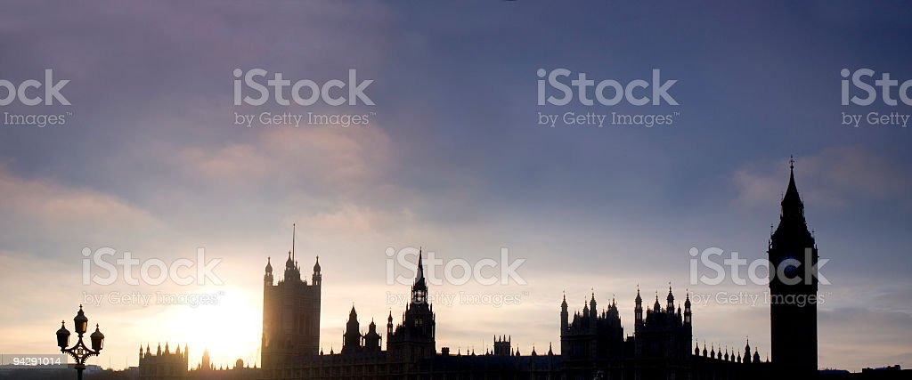 Big Ben and Parliament panorama royalty-free stock photo