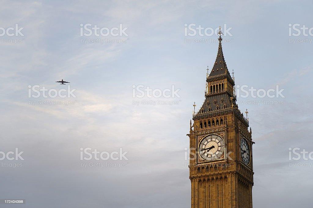 Big Ben and plane royalty-free stock photo