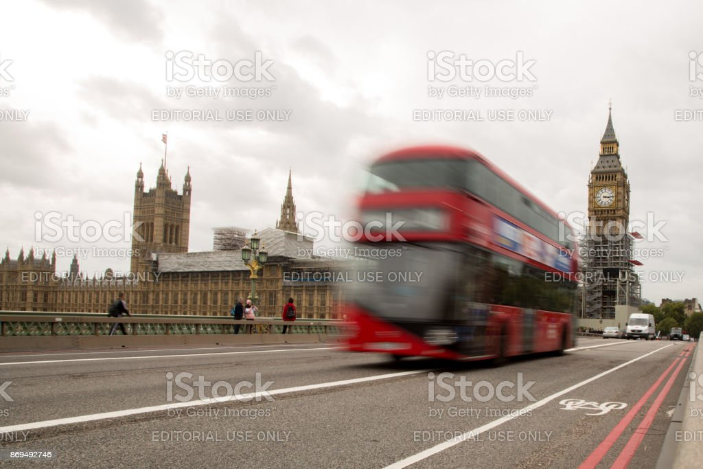 Big ben and red bus stock photo