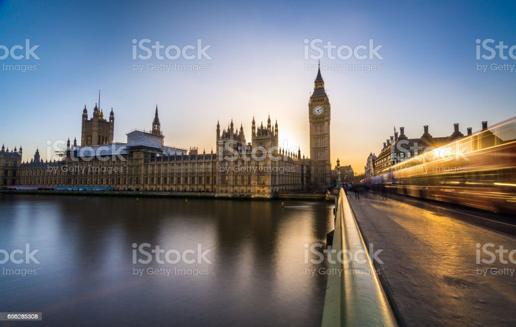 Big Ben and the houses of Parliament with light streaks stock photo