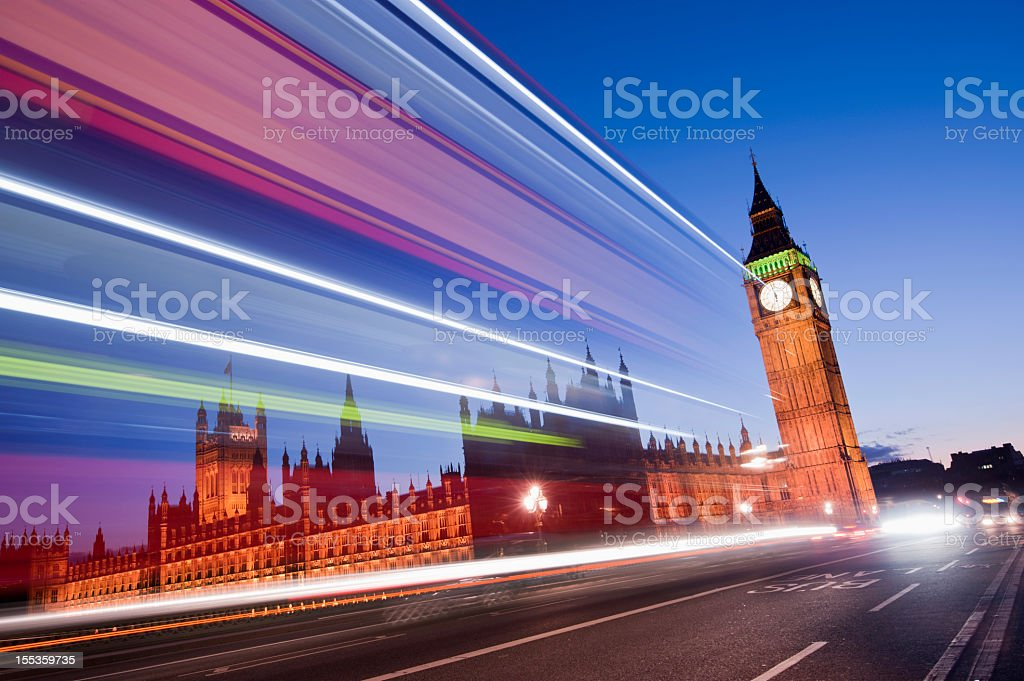 Big Ben and the Palace of Westminster at Night London royalty-free stock photo