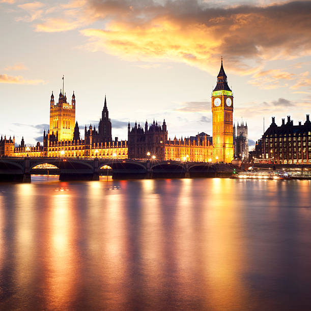 Big Ben and the Palace of Westminster in London UK stock photo