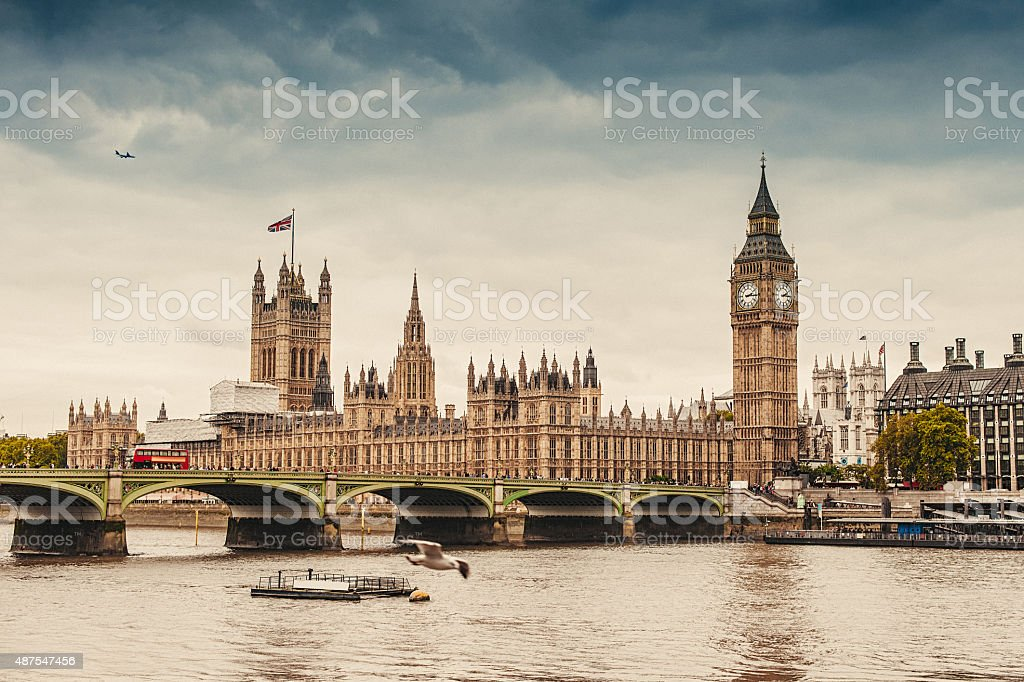 Big Ben and the Parliament in London stock photo