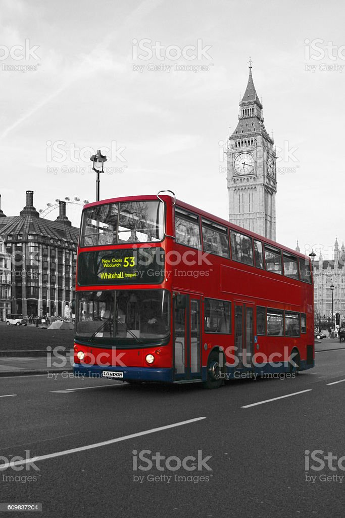 Big Ben and the Red Double-Decker stock photo