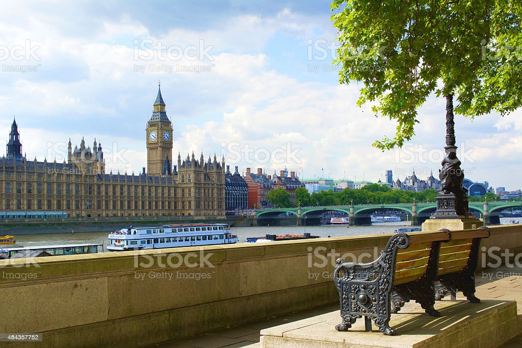 Big Ben and The Thames River stock photo