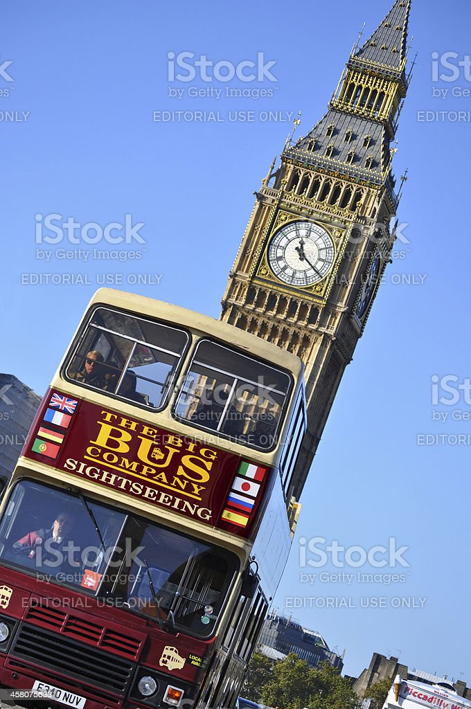 Big Ben and tour bus in London royalty-free stock photo