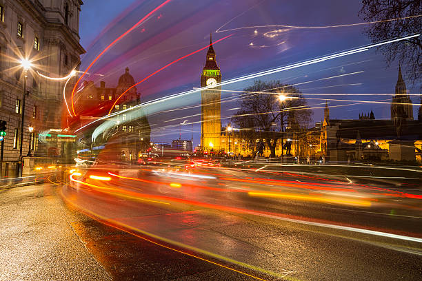 big ben and traffic during rush hour - historic vs new stock photos and pictures