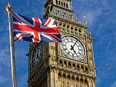 Big Ben and Union Jack flag in England