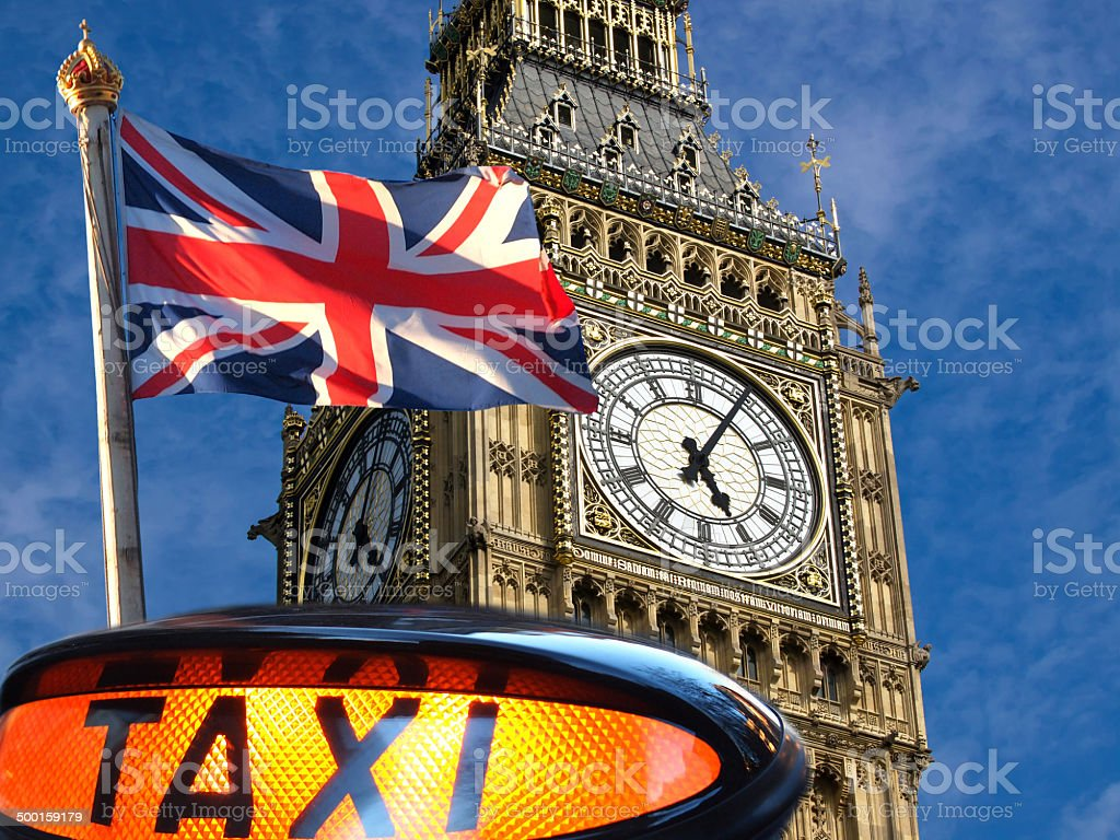 Big Ben and Union Jack stock photo