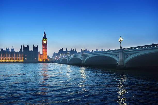 Big Ben und Westminster bei Sonnenuntergang, London, GB  – Foto