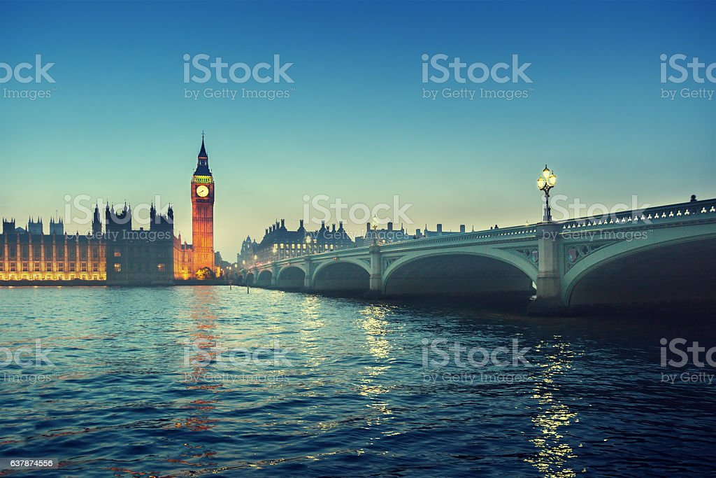 Big Ben and Westminster at sunset, London, UK stock photo