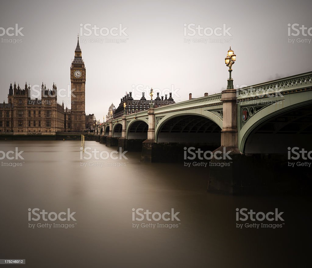 Big Ben and Westminster Bridge in London, England royalty-free stock photo