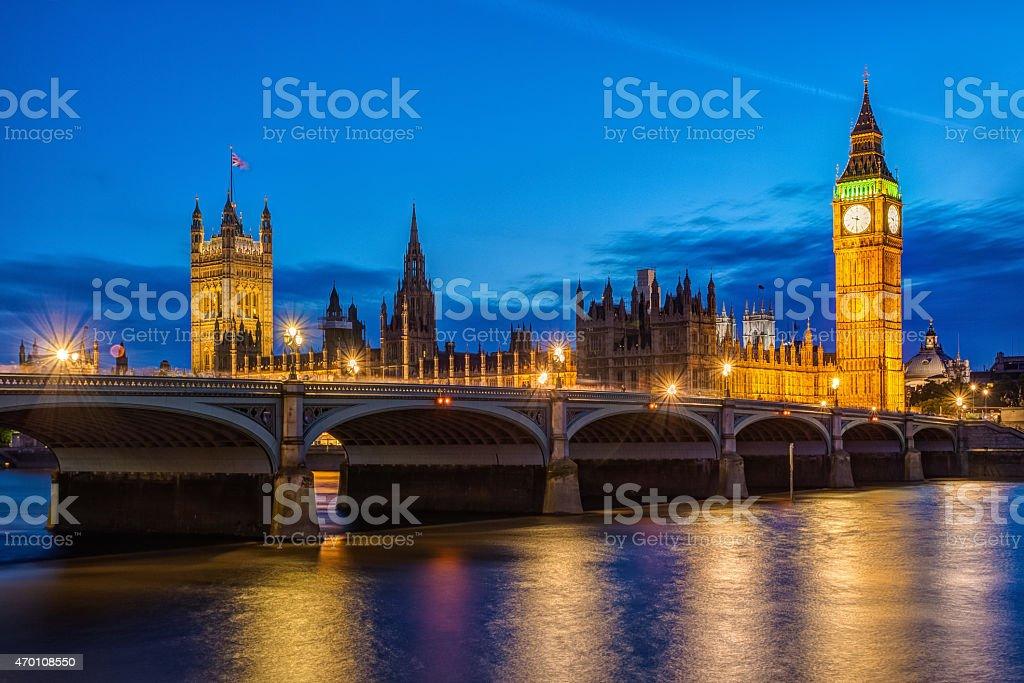 Big Ben and Westminster Bridge in London stock photo