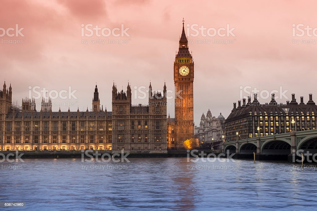 Big Ben and Westminster Bridge in London stock photo