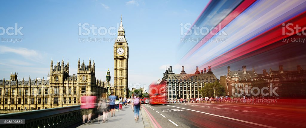 Big Ben and Westminster Bridge in London UK stock photo
