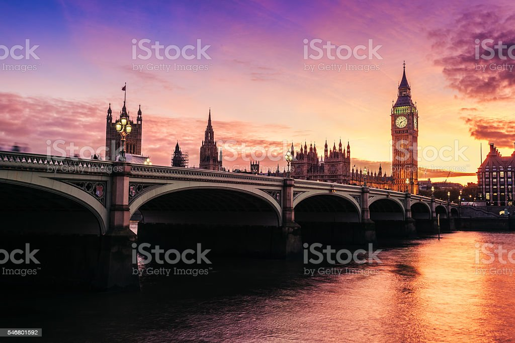 Big Ben and Westminster Bridge, London England UK stock photo