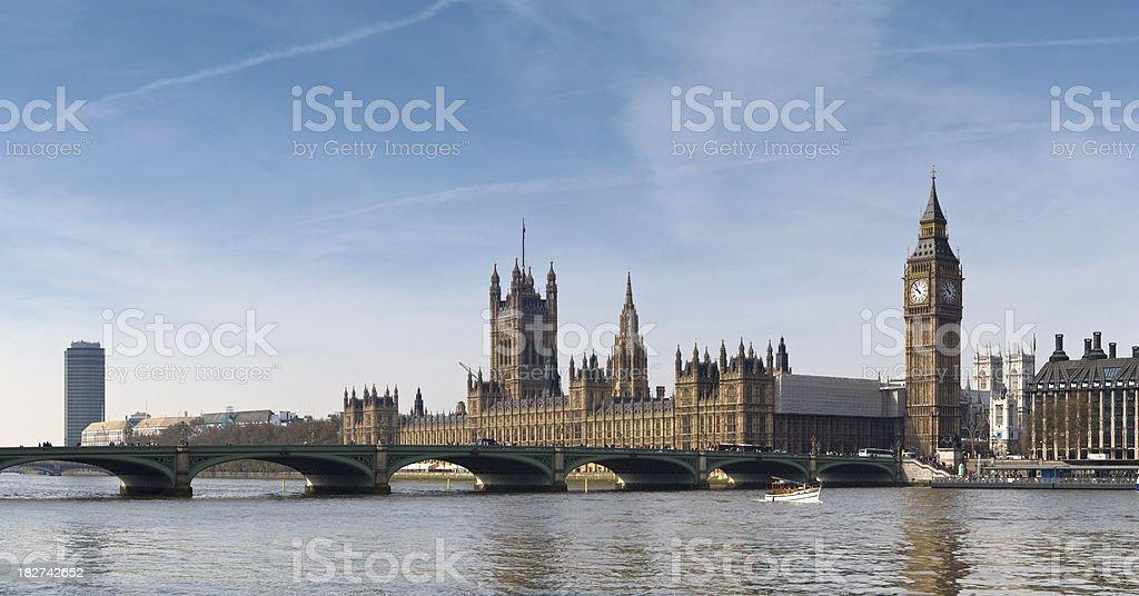 Big Ben and Westminster Bridge panorama, London royalty-free stock photo