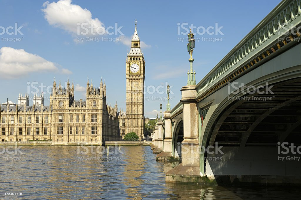Big Ben and Westminster Palace London from the Bridge royalty-free stock photo