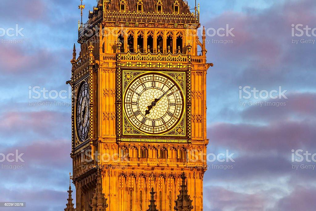 Big Ben at dawn with dramatic sky, London stock photo