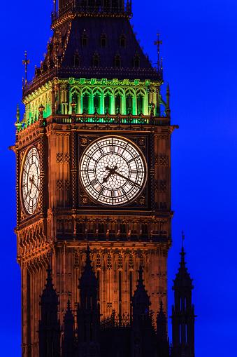 Big Ben At Night Close Up Westminster London Uk Stock ...