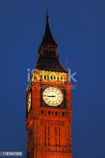 London, England: Big Ben at night, the name refers to the 13.5 ton weight of largest bells of the famous clock tower at the Palace of Westminster.