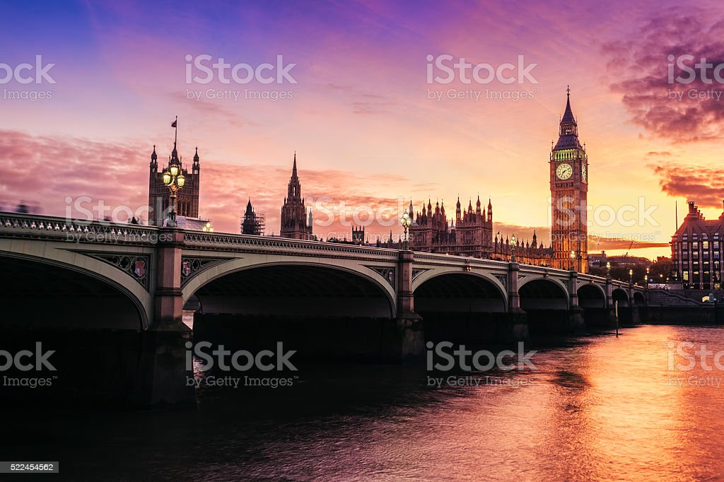 Big Ben at sunset in England, UK stock photo
