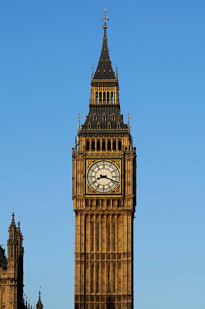 Big Ben clock in early morning light portrait stock photo