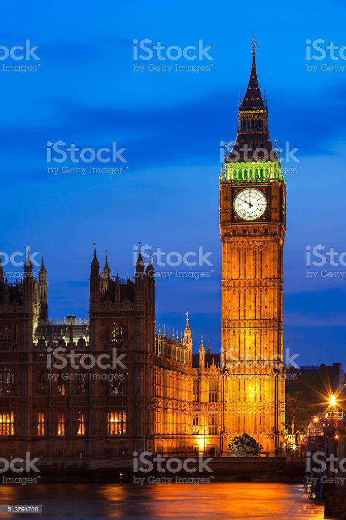 Big Ben Clock Tower and Houses of Parliament, London, UK stock photo